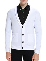 cheap -Men's Long Sleeve Cardigan - Solid Colored Shirt Collar