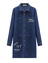cheap -Women's Shirt - Solid Colored / Letter Denim / Print