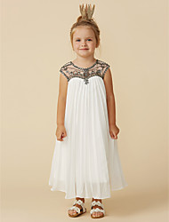 cheap -A-Line Tea Length Flower Girl Dress - Chiffon Short Sleeve Jewel Neck with Beading by LAN TING BRIDE®
