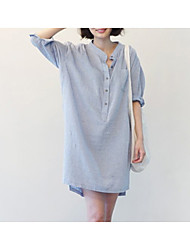 cheap -Women's Cotton Loose Shirt - Solid Colored / Striped Stand
