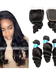Недорогие -3 комплекта с закрытием Бразильские волосы Бирманские волосы Свободные волны 10A Не подвергавшиеся окрашиванию Волосы Уток с закрытием 8-28 дюймовый Нейтральный Ткет человеческих волос 4x4 Закрытие