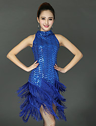 baratos -Dança Latina Vestidos Mulheres Espetáculo Elastano Mocassim / Combinação Sem Manga Vestido