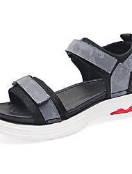 Недорогие -Жен. Обувь Полиуретан Лето Босоножки Сандалии На плоской подошве Круглый носок Черный / Серый / Зеленый