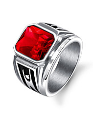 cheap -Men's Stylish Band Ring - Stainless Steel Punk, Trendy, Hip-Hop 8 / 9 / 10 Black / Red For Gift / Daily