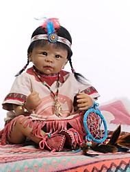 Недорогие -NPKCOLLECTION Куклы реборн Девочки 22 дюймовый Искусственная имплантация Коричневые глаза Детские Девочки Игрушки Подарок