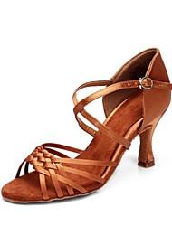 baratos -Mulheres Sapatos de Dança Latina Cetim Sandália Salto Alto Magro Personalizável Sapatos de Dança Camel