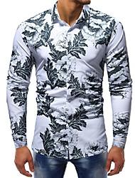 Недорогие -Муж. С принтом Рубашка Классический Цветочный принт / Контрастных цветов