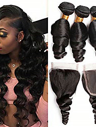 cheap -3 Bundles with Closure Brazilian Hair Wavy Human Hair Natural Color Hair Weaves / Hair Bulk / One Pack Solution / Hair Weft with Closure 8-20 inch Natural Color Human Hair Weaves 4x4 Closure Life