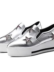 abordables -Femme Chaussures Cuir Nappa Printemps été Confort Mocassins et Chaussons+D6148 Creepers Gris / Argent / Rose
