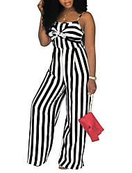 abordables -Femme Quotidien A Bretelles Noir Gris Vin Ample Combinaison-pantalon, Rayé XL XXL XXXL Sans Manches