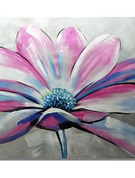 cheap -STYLEDECOR Modern Hand Painted Abstract Pink Flowers with Blue Stamens Oil Painting on Canvas Wall Art