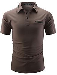 Недорогие -Муж. Polo Хлопок, Рубашечный воротник Тонкие Классический Однотонный / С короткими рукавами