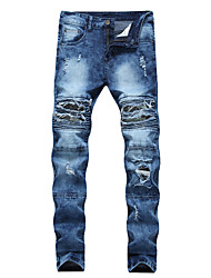 cheap -Men's Jeans Pants - Solid Colored Hole