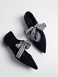 baratos -Mulheres Sapatos Camurça Verão Bailarina Rasos Salto Baixo Preto / Roxo / Marron