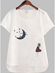 cheap -Women's T-shirt - Solid Colored / Portrait Embroidered