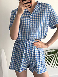 cheap -Women's Shirt Collar Suits Pajamas Solid Colored