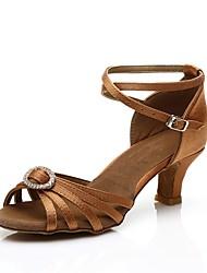 baratos -Mulheres Sapatos de Dança Latina Cetim Salto Cristal / Strass Salto Cubano Personalizável Sapatos de Dança Marron