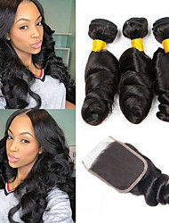 cheap -Indian Hair Loose Wave Gifts / Natural Color Hair Weaves / Tea Party Favors 3 Bundles With  Closure 8-20 inch Human Hair Weaves 4x4 Closure Soft / New Arrival / Hot Sale Dark Black Human Hair