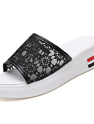 cheap -Women's Shoes PU(Polyurethane) Summer Slingback Slippers & Flip-Flops Creepers White / Black