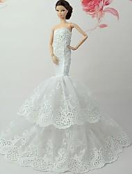 Недорогие -Платья Платье Для Кукла Барби Белый + розовый Кружево Полиэфирный жаккард Платье Для Девичий игрушки куклы