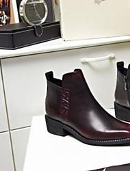 Недорогие -Жен. Обувь Наппа Leather Наступила зима Удобная обувь Ботинки На низком каблуке Закрытый мыс Сапоги до середины икры Черный / Серебряный / Винный