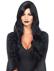 abordables -Pelucas sintéticas Ondulado Parte media Pelo sintético 24 pulgada Raya en medio / Para mujeres de color Negro Peluca Mujer Larga Sin Tapa
