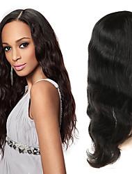 Недорогие -Натуральные волосы Полностью ленточные Парик Индийские волосы Естественные кудри Парик Ассиметричная стрижка 130% / 150% / 180% Без запаха / Шерсть / Новое поступление Черный Жен. Средняя длина