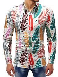 Недорогие -Муж. С принтом Рубашка Классический Цветочный принт / Контрастных цветов Тропический лист