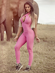 cheap -Women's Cross Front Hollow Out Jumpsuit - Pink Sports Solid Color Leggings Yoga, Running, Fitness Activewear Breathable, Compression, Sweat-wicking Stretchy