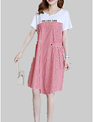 cheap -Women's T-shirt - Solid Colored / Check / Letter Patchwork