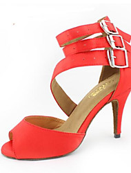 cheap -Women's Latin Shoes PU(Polyurethane) Heel Slim High Heel Dance Shoes Red / Leather / Practice
