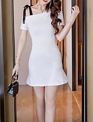 abordables -Femme Basique Mini Gaine Robe Taille haute Une Epaule Blanc Noir Rouge M L XL Manches Courtes