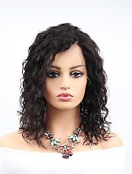 Недорогие -человеческие волосы Remy Полностью ленточные Парик Бразильские волосы Волнистые Черный Парик Ассиметричная стрижка 130% 150% 180% Плотность волос с детскими волосами Женский Легко туалетный Sexy Lady