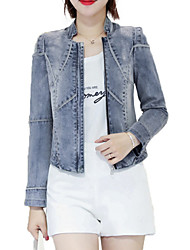 cheap -Women's Basic Denim Jacket - Solid Colored