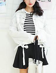 Недорогие -Жен. Повседневные Обычная Джинсовая куртка, Современный стиль Рубашечный воротник Длинный рукав Полиэстер Белый / Черный S / M / L