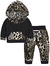 cheap -Baby Girls' Basic Leopard / Color Block Long Sleeve Cotton Clothing Set / Toddler