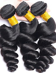 cheap -Malaysian Hair Loose Wave Gifts / Cosplay Suits / Natural Color Hair Weaves 3 Bundles 8-28 inch Human Hair Weaves Soft / Hot Sale / Fashion Natural Black Human Hair Extensions Women's