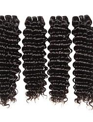 Недорогие -4 Связки Малазийские волосы Крупные кудри 8A Натуральные волосы Необработанные натуральные волосы Подарки Косплей Костюмы Человека ткет Волосы 8-28 дюймовый Естественный цвет Ткет человеческих волос