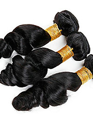 billige -3 Bundler Mongolsk hår Løst, bølget hår Menneskehår Gaver / Hovedstykke / Udvidelse 8-28 inch Menneskehår Vævninger Maskinproduceret Vævet / Bedste kvalitet / Hot Salg Sort Naturlig Farve Menneskehår