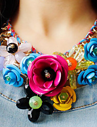 cheap -Women's Crystal Plaited Statement Necklace - Roses, Flower Statement, European, Festival / Holiday Green, Blue, Pink Necklace For Party, Special Occasion, Birthday