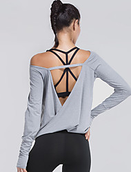 cheap -Women's Open Back Yoga Top - Black, Grey Sports Solid Color, Fashion Spandex Tee / T-shirt Running, Fitness, Dance Activewear Fast Dry, Breathable, Sweat-wicking Stretchy