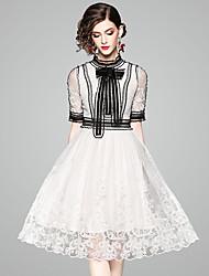 baratos -Mulheres Moda de Rua Bainha / Rodado Vestido - Vazado, Sólido Altura dos Joelhos