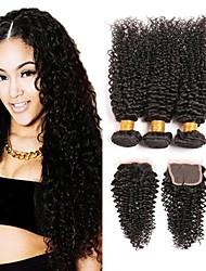 baratos -3 pacotes com fechamento Cabelo Brasileiro Ondulado Cabelo Humano Trama do cabelo com Encerramento 8-24 polegada Tramas de cabelo humano Fabrico à Máquina Natural / Adorável / Melhor qualidade Preta