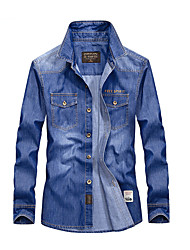 cheap -Men's Basic Shirt - Solid Colored Patchwork