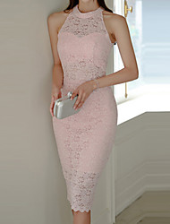 cheap -Women's Elegant Sheath Dress - Solid Colored Lace