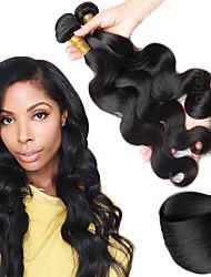 cheap -3 Bundles Brazilian Hair Wavy Human Hair Costume Accessories / Human Hair Extensions 8-28 inch Human Hair Weaves Machine Made Classic / Best Quality / Hot Sale Black Natural Color Human Hair