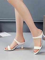 Недорогие -Жен. Обувь Полиуретан Лето Туфли лодочки Сандалии На шпильке Открытый мыс Белый / Бежевый / Розовый