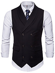 cheap -Men's Business Basic Vest-Solid Colored