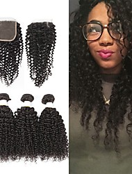 cheap -3 Bundles with Closure Brazilian Hair Kinky Curly Unprocessed Human Hair / Human Hair Gifts / Natural Color Hair Weaves / Hair Bulk / Tea Party Favors 8-20 inch Natural Color Human Hair Weaves 4x4