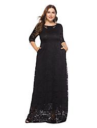 baratos -Mulheres Sofisticado / Elegante balanço Vestido - Renda, Sólido Longo